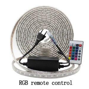 Image 5 - LED רצועת אור עמיד למים LED קלטת AC 220V SMD 5050 60 נוריות/m גמיש LED אורות לסלון חדר חיצוני תאורה עם האיחוד האירופי Plug