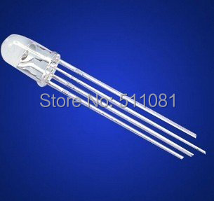 50PCS/LOT 5mm RGB Ultra Bright Led Common Cathode 3.1-3.3V Red, Green, Blue Three Color Four Feet Seven Lights