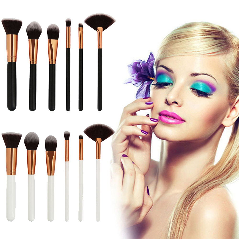 все цены на 6PCS/1Set Cosmetic Makeup Brush Face Eye Shadow Eyeliner Lip Brushes Set Foundation Powder Liquid Cream Blending Make up Brush онлайн