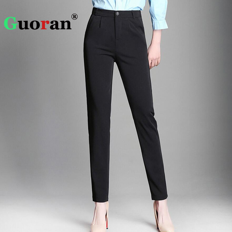 {Guoran} Summer 2018 Woman   Capri   Harem   Pants   Femme Plus Size Office Work Wear Trousers White Black Pencil Female Pantalon RED