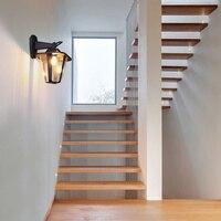 Винтаж промышленных свет черный металлический Лофт ретро лампы, светильники Водонепроницаемый внешний бра E27 балкон открытый двор лампы
