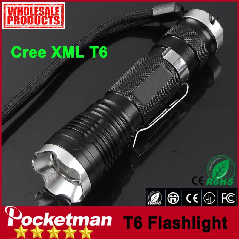 zk20 Free Shipping CREE XML-T6 2000 Lumen LED Flashlight 5 Modes Flashlight Belt Clip Tactical Totch Telescopic Zoomable free shipping wholesale 1pc 2000 lumen cree xml t6 led mini super flashlight 5modes cinnamon torch aluminum alloy[2601 t6]