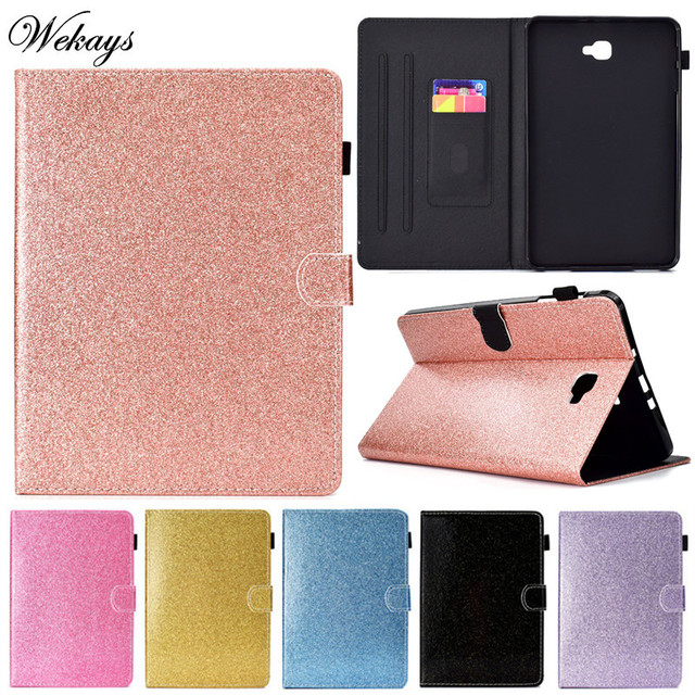 the latest cb6e6 99ae9 US $11.99 11% OFF|Wekays For Samsung Tab A6 T580 Glitter Bling Leather Case  For Samsung Galaxy Tab A6 A 6 2016 10.1 T585 T580 SM T585 Cover Cases-in ...