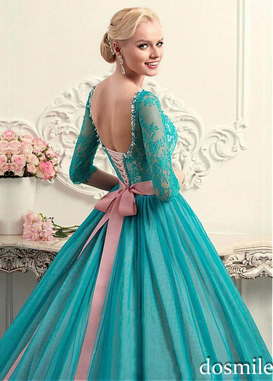 2017 vintage princess long lace sleeves turquoise elegant Ball Gown ...