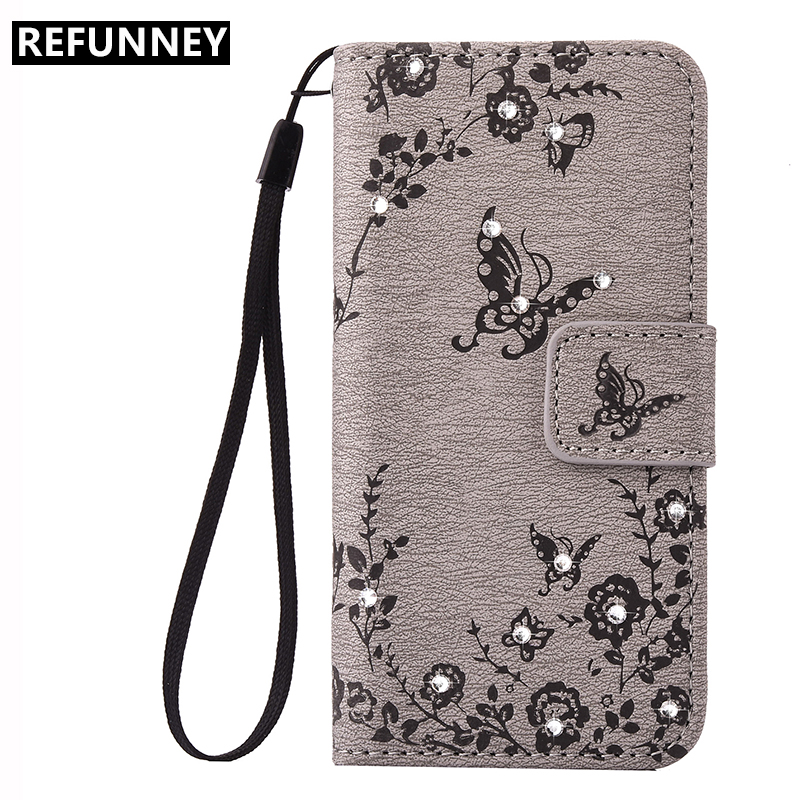 REFUNNEY for Rhinestone iPhone 7 Wallet Case Cover Plus Butterfly PU Leather Coque Capinha for iPhone7 7Plus