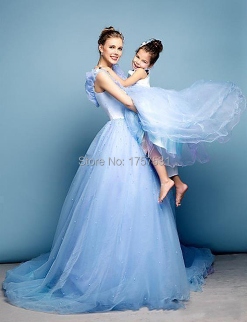Newest Cinderella Prom Dresses Mother Daughter Matching Blue Ball Gown V Neck Cap Sleeves Wedding