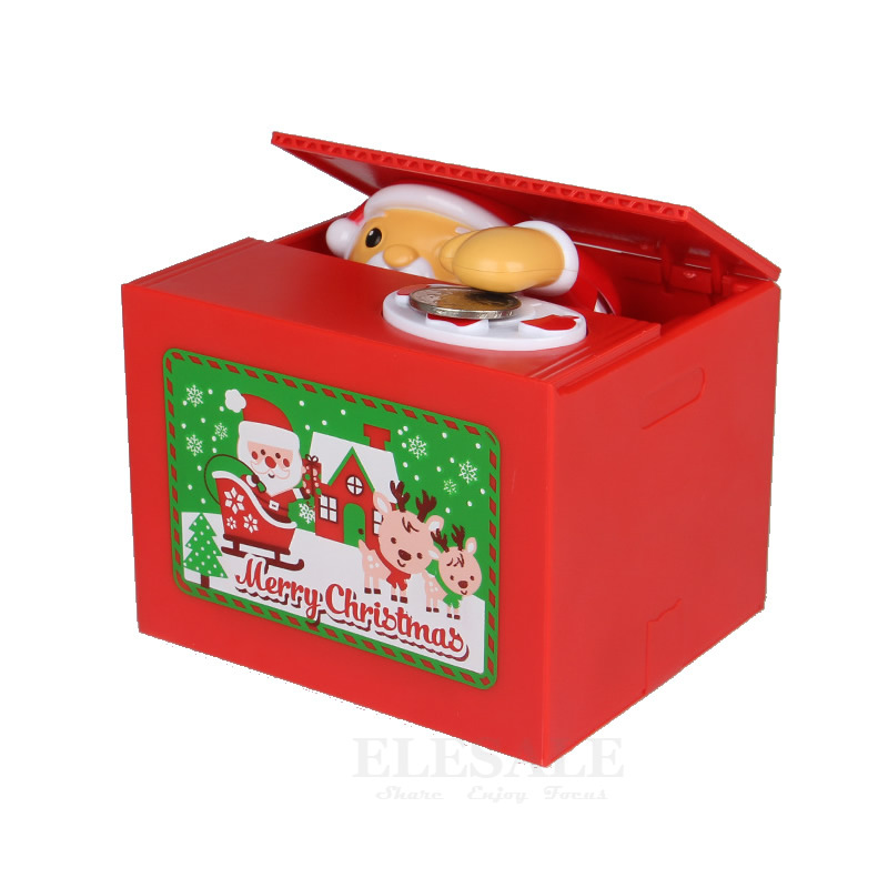 New Cute Christmas Santa Claus Electronic Piggy Bank Auto Coin Saving Box With Music Money Safe Box Desk Toy For Christmas Gift christmas santa claus gift print plus size skirt