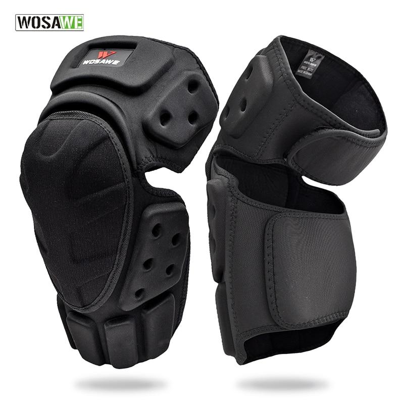 WOSAWE Adjustable Knee Protector Motorcycle Motocross Riding Cycling Skating Ski Pads Kneepads Black Brace Support