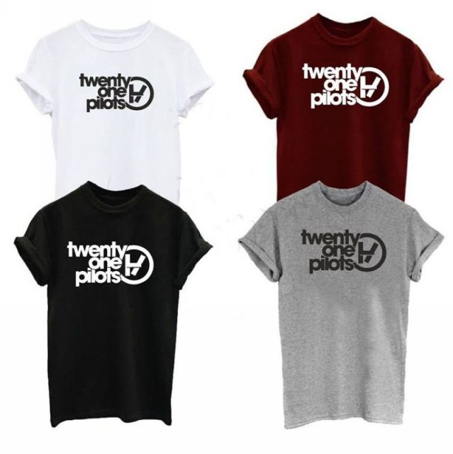 Twenty One Pilots Band Inspired Logo T-shirt Music Rock Tumblr Tops Tee Shirts Harajuku Cotton Fashion Tshirt For Mens Womens
