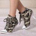 Estilo coreano Del Otoño Del Resorte de Las Mujeres Zapatos Mujer Bombas Tacones Altos Lace Up Camuflaje Remaches Denim Lona Tamaño 34-41 Mbt zapatos de mujer