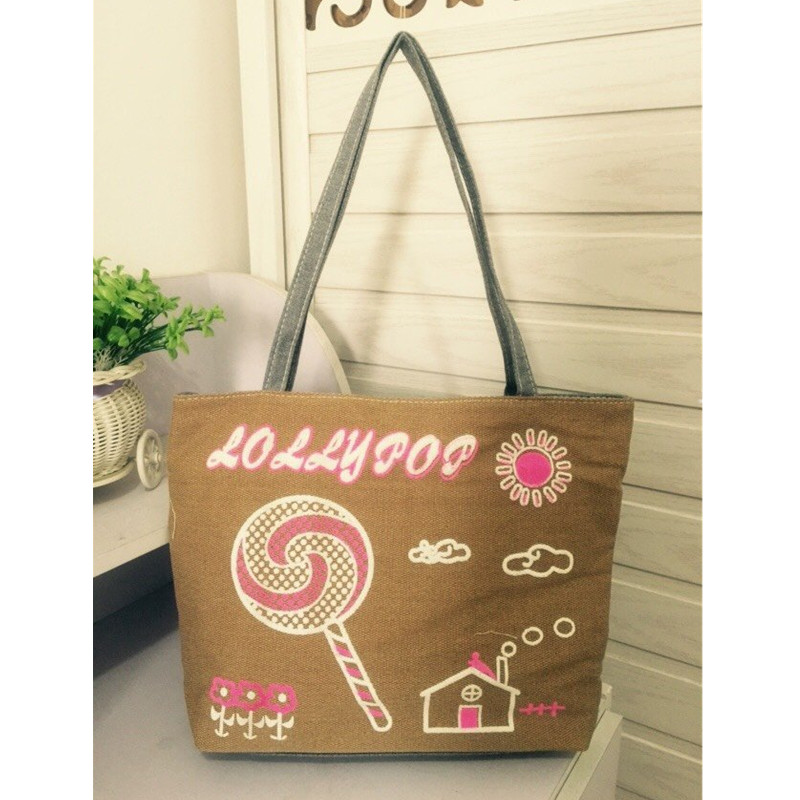 Casual Canvas Women Lady Shoulder Bag Lollipop Sunshine Pattern Shopper Handbag Beach Bag Women Tote Zipper