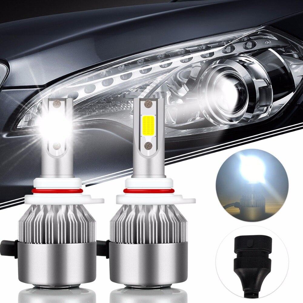 2Pcs Car-Styling HIR2 Super Bright COB Led Bulb 72W 7600Lm Car Led Headlight 9012 12V Moto Fog Lamp DRL Automobiles