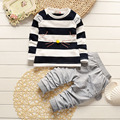 Fashion Autumn Kids Clothes Sets Black/white Stripe Boys Girls Cotton Sets Pullover Shirt + Long Pants Children Clothing