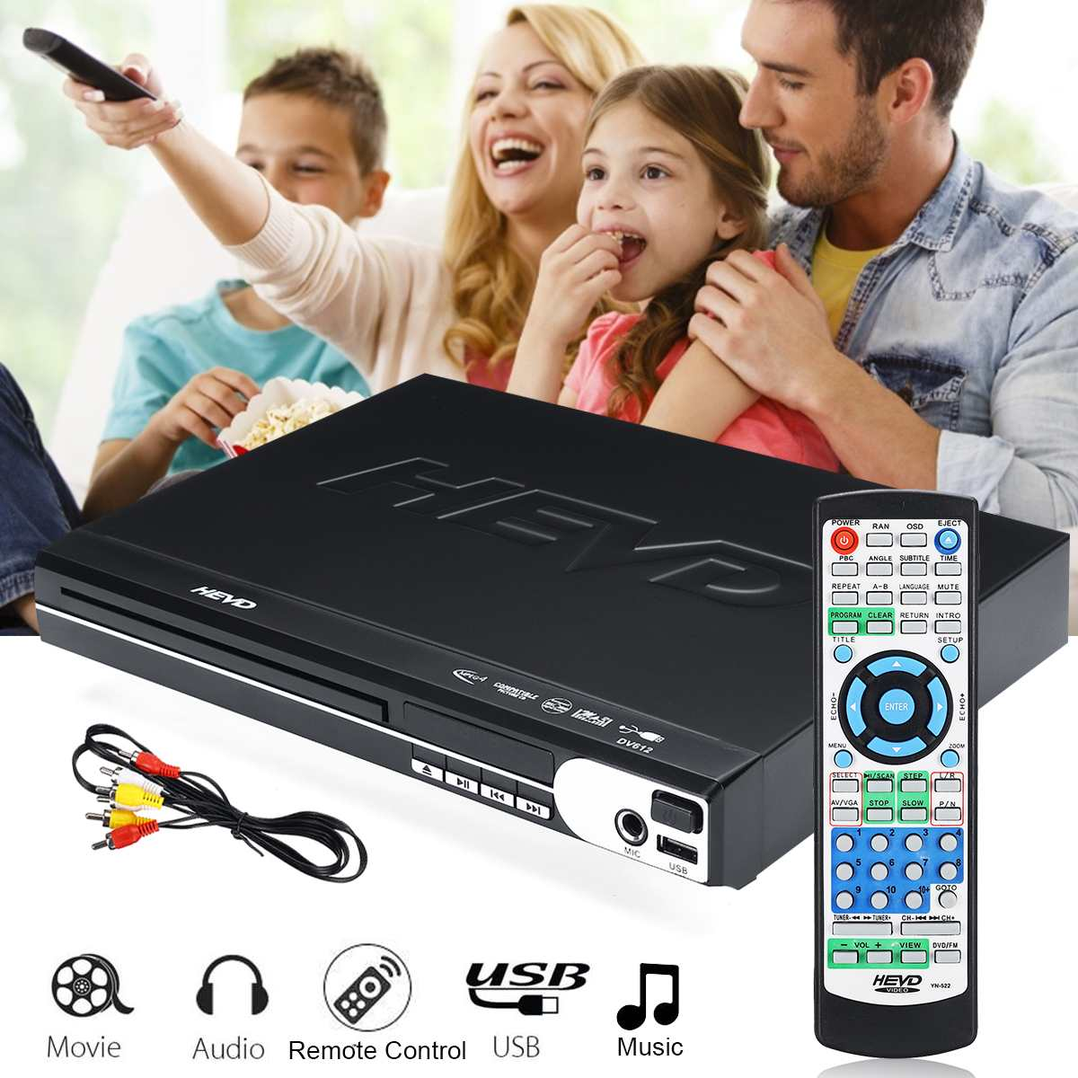 DVD Player Compact Multi Region Reader Full HD USB Mic Port With Remote Control 110-240V 50-60Hz Plug and Play Black PlasticDVD Player Compact Multi Region Reader Full HD USB Mic Port With Remote Control 110-240V 50-60Hz Plug and Play Black Plastic