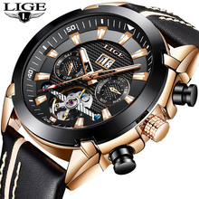 LIGE ساعة يد رجالية توربيون الموضة الفاخرة الرياضة الميكانيكية ساعة الرجال الكلاسيكية التلقائي الميكانيكية ساعات المعصم Reloj Hombre + Box