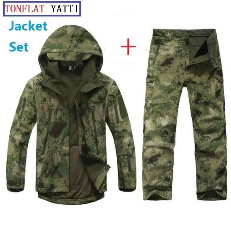 TAD Softshell Tactical Outdoors Hoodie Jacket Set Men Waterproof Sport Camo Hunting Clothing Set Pants+Military Jacket Hoodies lurker shark skin soft shell v4 military tactical jacket men waterproof windproof warm coat camouflage hooded camo army clothing
