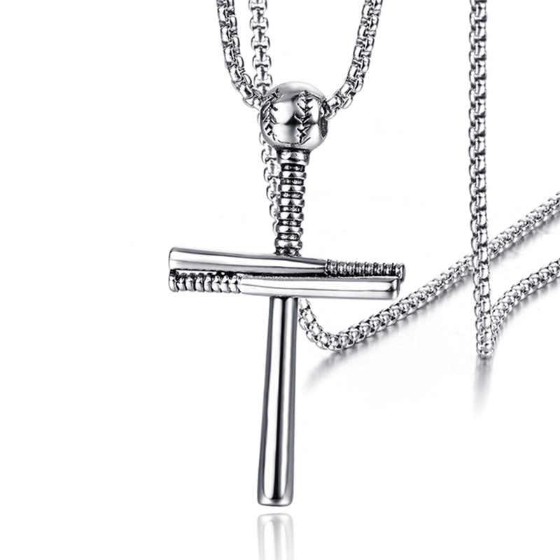 Мужское ожерелье из нержавеющей стали с крестом, модный бейсбольный медальон из титановой стали, ювелирные изделия с покрытием Иисуса рождения