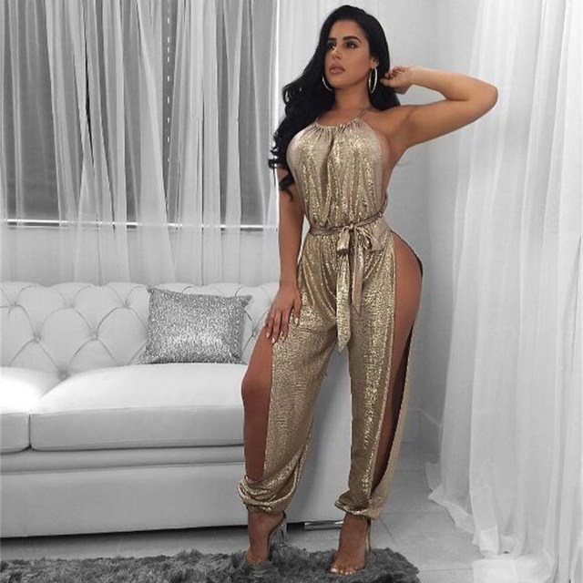 Summer Women Sleeveless Solid Gold Bodycon Jumpsuit Causal Open Side Split Rompers Sexy Halter Hollow Out Sashes Sexy Overalls