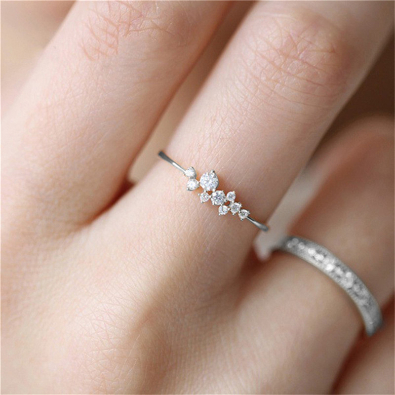 Hot Sale Fashion Women Ring Finger Jewelry Sliver /Gold Color Rhinestone Crystal CZ Rings with GIFT BOX 5/6/7/8/9/10 Size R4