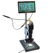 Cheapest prices 100X Zoon Lens BNC AV TV Digital Industrial Microscope Camera SET C-Mount Lens +7″ AV LCD Monitor + LED Light + Table Stand