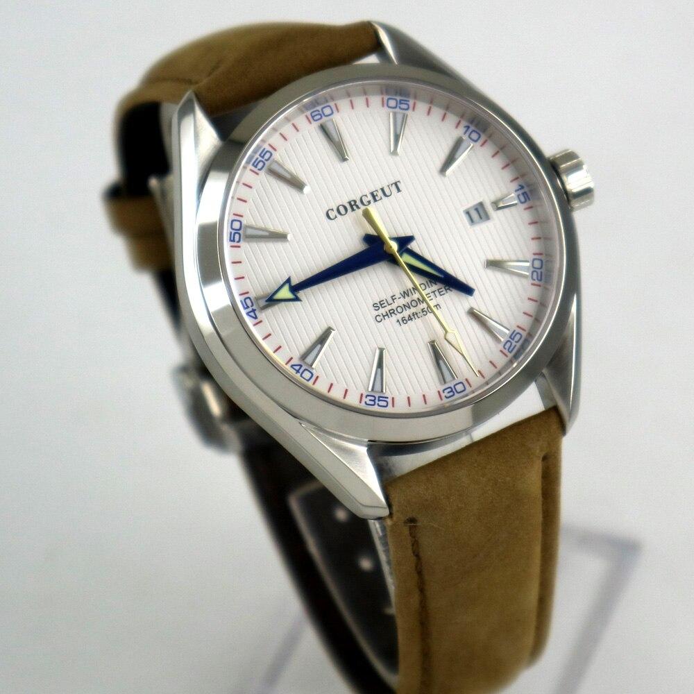 Poliert 41mm corgeut weiß zifferblatt Saphirglas automatische herren Uhr-in Mechanische Uhren aus Uhren bei  Gruppe 1