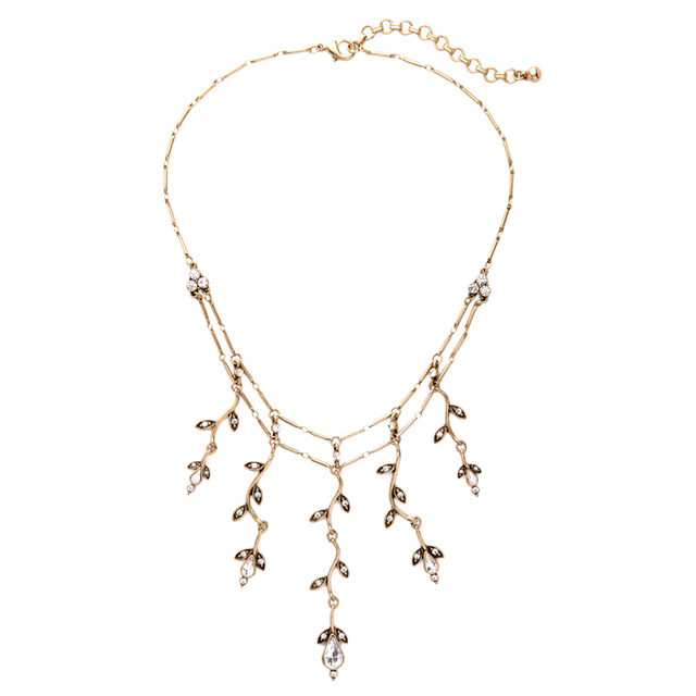 Online shop 2017 vintage antique gold color branch pendant 2017 vintage antique gold color branch pendant necklace for women crystal leaves collar necklace indian jewelry mozeypictures Gallery