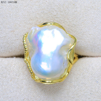 Handmade special shaped pearl ring 925 sterling silver freshwater baroque pearl ring with adjustable pearl rings Woman's Jewe