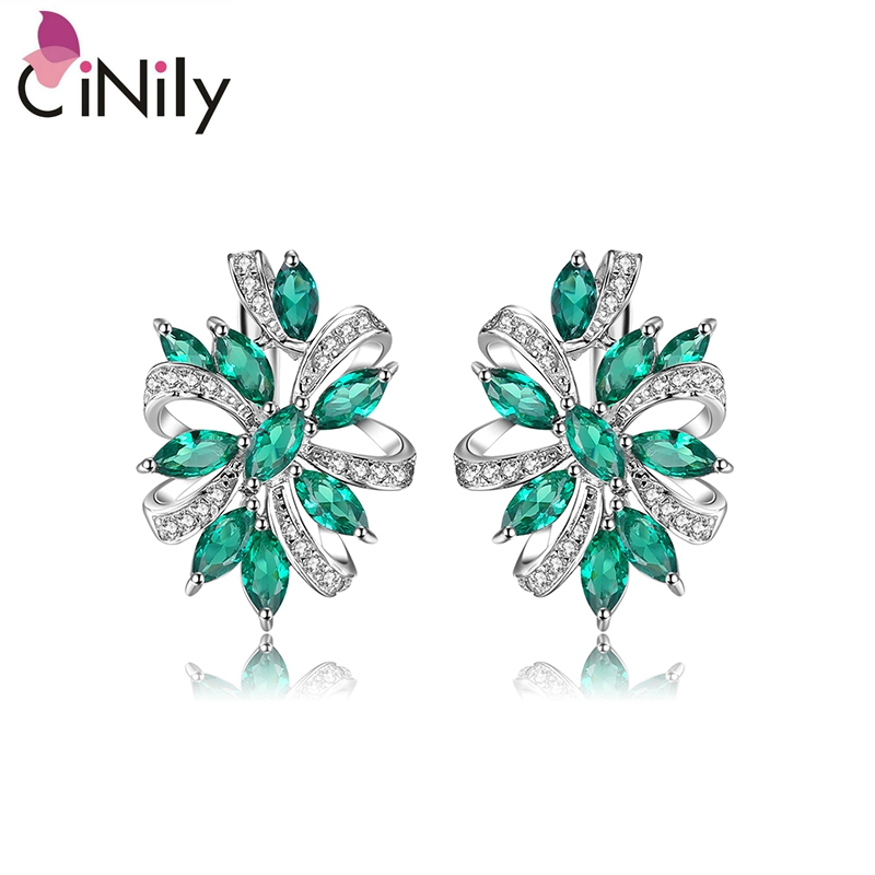 CiNily Created Emerald Cubic Zirconia Authentic. Solid 925 Sterling Silver Fine Jewelry for Women Engagement Stud Earrings SE039