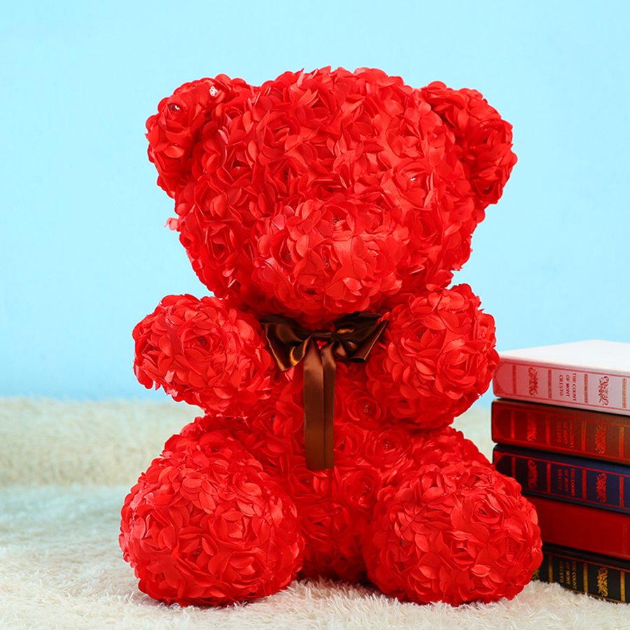 1314 Flowers Giant Plush Toy Bear Hot Sale For Girls Gift Romantic Bear Teddy Knuffel Doll  Valentine'S Day Gift Present 50T0074 romantic heart shaped 19 soap rose flowers w bear doll red pink beige