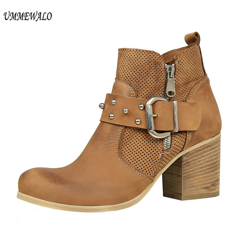 UMMEWALO Fashion Ankle Length Flock Boots Women Round Toe High Heel Shoes Winter Ankle Boots Ladies