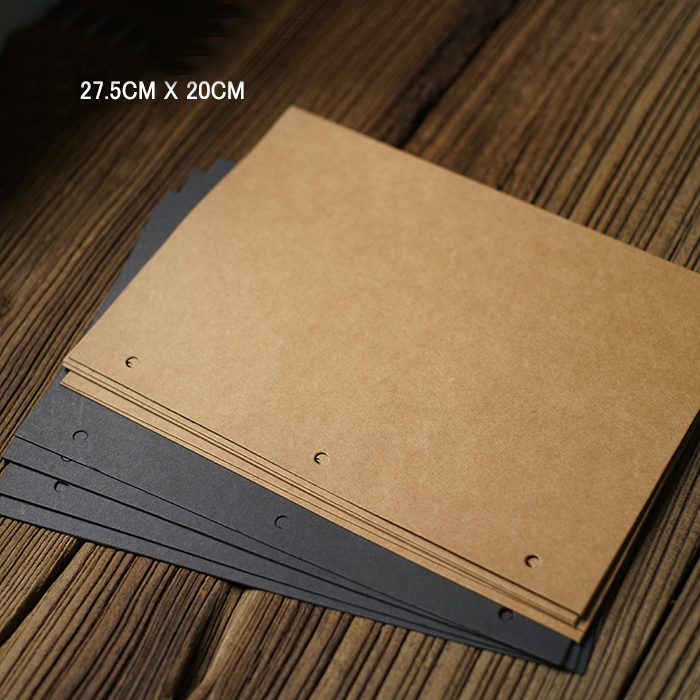 Thick Big Vertical 3 Holes 27.5*20CM Kraft Black Card for Diy Photo Album Adding Inside  ...