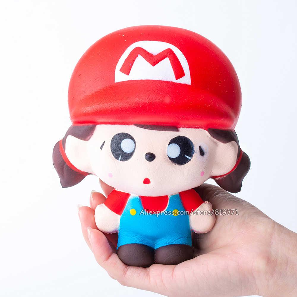 Kawaii Squishy Lento Subindo Mario Animal Big Squeeze Perfumado Divertido Autismo Antistress Mole Brinquedo Interessante Para As Crianças