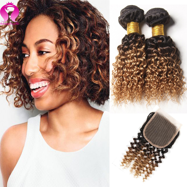 Hot Sexy Remy Hair Bundles With Closure Peruvian Virgin Hair With Closure Honey Blonde Deep Wave With Closure Short Bob Weave