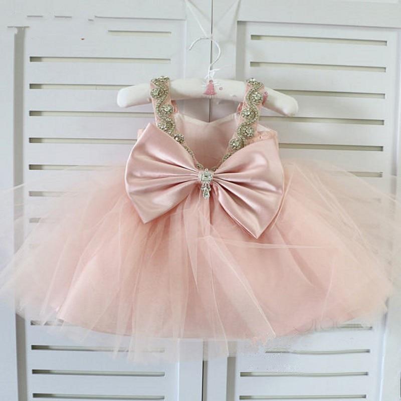 vestido de daminha Pink   Flower     Girl     Dress   primera comunion vestido daminha Mid Length Tulle   Flower     Girl     Dresses   Crystals Beaded