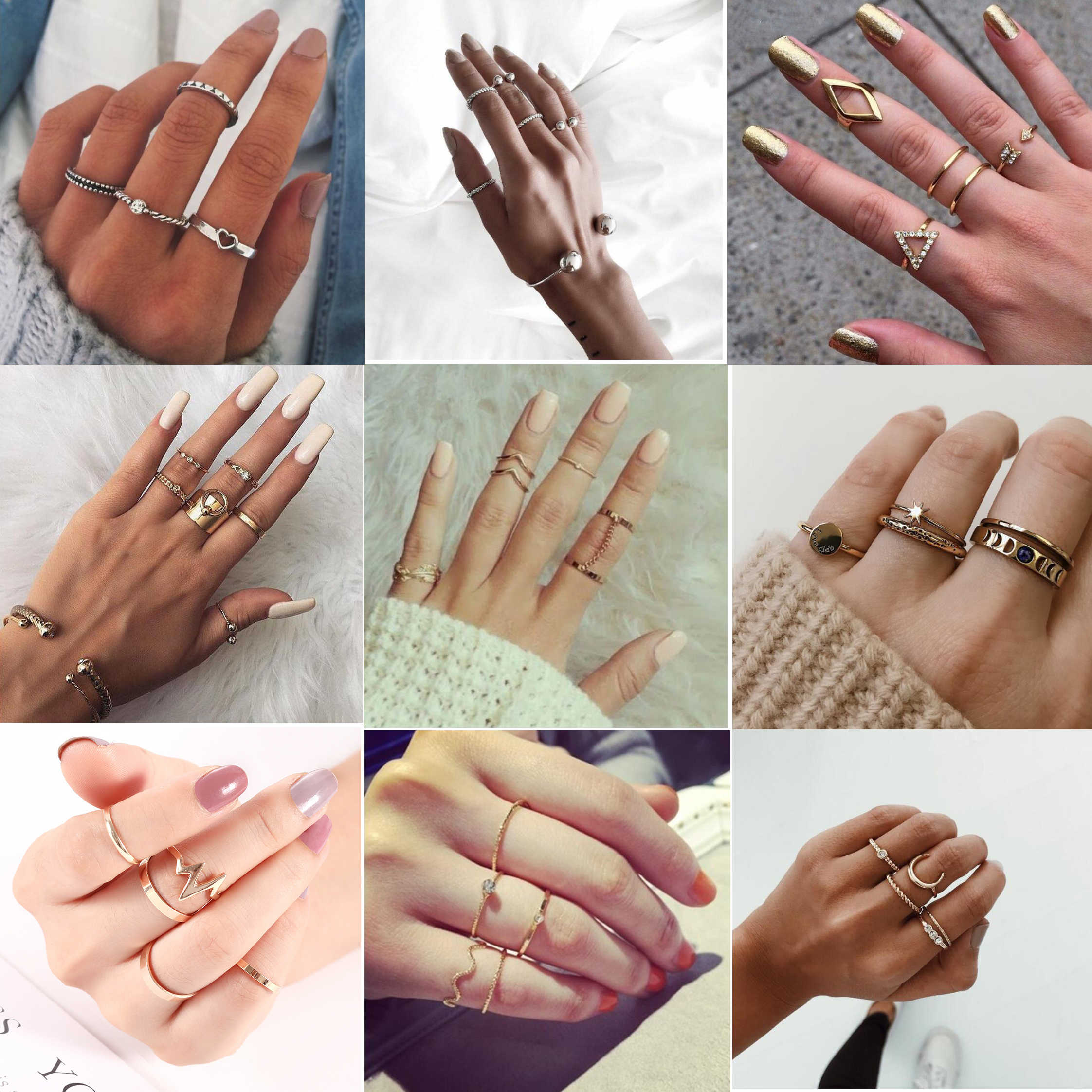 Women Ring Girls Gold Silver Retro Fashion Jewelry Trend Gift Vintage Ring Set Combination Boho 2019 New