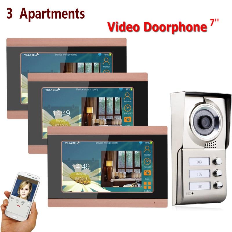 7inch Record wireless Wifi 3 Apartments Video Door Phone Intercom System IR CUT HD 1000TVL Camera Doorbell Camera with 3 button|Video Intercom| |  - title=