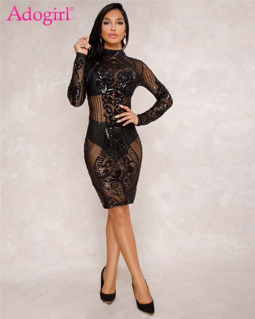 Adogirl Hot Sexy Sheer Mesh Sequins Long Sleeve Club Dress Slim Sheath  Bodycon Midi Party Dresses c6ae76a88aea