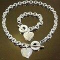 Etiqueta de plata Del Corazón Toggle Pulsera Sistemas de la Joyería de Moda Diseñador de la Marca de Amor Icono Por Favor Devuelva Collares Pulseras Joyería