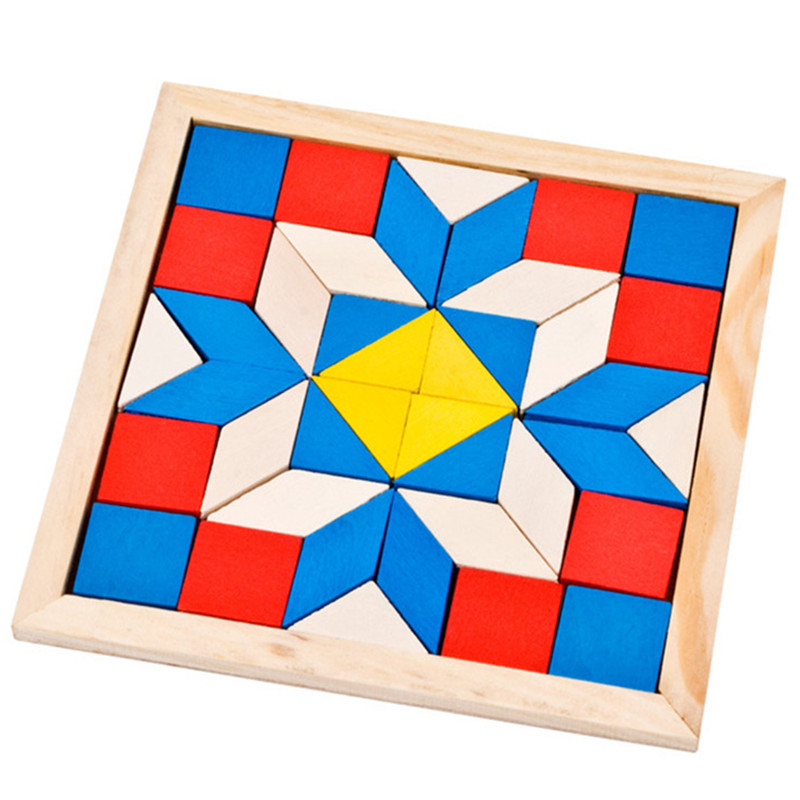 Wooden Tangram Brain Teaser Puzzle Toys Geometric Jigsaw Board Wood Imagination Intellectual Educational Kid Toy