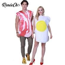 6c1cf963ce7 Carnaval Costume Adulte Bacon Et Oeufs Costume Halloween Costume Pour Couple  Femmes Drôle Petit Déjeuner Alimentaire