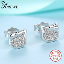 Pure Sterling Silver And Crystals Kitty Cat Earrings