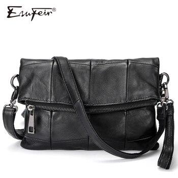 2018 ESUFEIR Brand Genuine Leather Women Messenger Bag Patchwork Sheepskin Leather Shoulder Bag Women Crossbody Bag daily Clutch