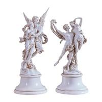 Continental married resin angel sculpture antique silver handicrafts den living room TV Cabinet Decoration 14CMX36CM