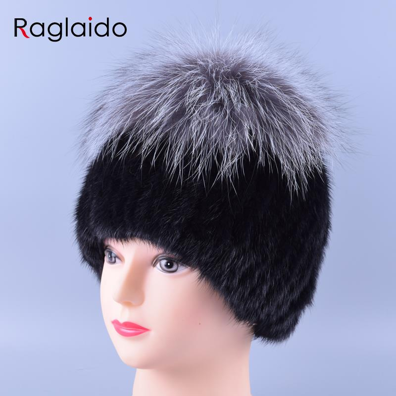 3colors Silver Fox+ Mink Fur Hats Hand Knitted Beanie Real Fur Noble Winter Hats Fashion Women