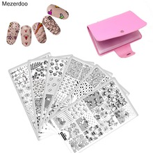 Nail Stamping Plates Set 10PC +Storage Bag 20 Slots Holder Flower Animal Skull Art Template Image Stencil Tool