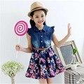 Kids girls dresses summer 2016 fashion cowboy princess Sleeveless print dress girl party dress 4-14 years Children Girls clothes