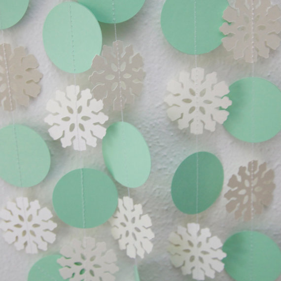 Snowflake Garland Mint Green Circle Winter Wedding Christmas Decor One 10 Foot Strand