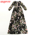 Print Princess Dress 2017 Spring Cute Casual White/Black Long Lantern Sleeves O-Neck Collect Waist Women Floor-Length Dress