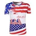 2016 Fashion T-Shirt Short Sleeve T Shirt USA American Flag Printed T-shirts Fall Men Tshirt Fitness Camiseta