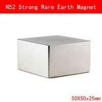 1PCS block 50x50x25mm N52 Super Strong Rare Earth Magnet Permanent N52 Magnets 50*50*25MM